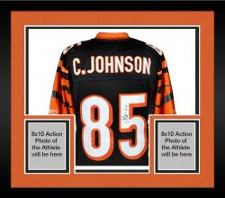 "Framed Chad Johnson Cincinnati Bengals Autographed Black Jersey with ""7-11"" Inscription"