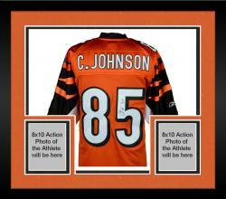 "Framed Chad Johnson Cincinnati Bengals Autographed Orange Jersey with ""7-11"" Inscription"
