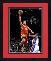 """Framed Chandler Parsons Houston Rockets Autographed 16"""" x 20"""" Red Uniform Layup Photograph"""