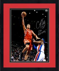 """Framed Chandler Parsons Houston Rockets Autographed 16"""" x 20"""" Red Uniform Layup Photograph with Go Rockets Inscription"""