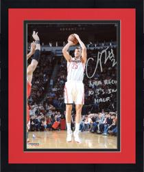 """Framed Chandler Parsons Houston Rockets Autographed 8"""" x 10"""" Jumper Photograph with NBA Record Most 3s In A Half Inscription"""