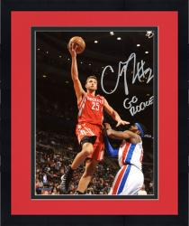 """Framed Chandler Parsons Houston Rockets Autographed 8"""" x 10"""" Red Uniform Layup Photograph with Go Rockets Inscription"""
