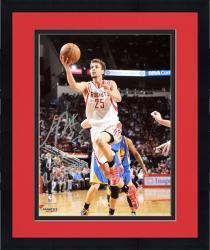 "Framed Chandler Parsons Houston Rockets Autographed 8"" x 10"" White Uniform Layup Photograph with Go Rockets Inscription"