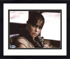 "Framed Charlize Theron Autographed 8"" x 10"" Mad Max Face Close Up Photograph - Beckett COA"