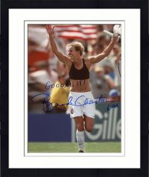 Framed Brandi Chastain Autographed 8'' x 10'' World Cup Hands Up Photograph