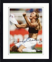 Framed Brandi Chastain Autographed 8'' x 10'' World Cup On Knees Photograph