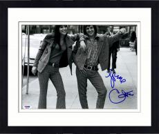 """Framed Cher Autographed 11"""" x 14"""" With Sonny B&W Photograph - PSA/DNA COA"""