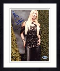 "Framed Cher Autographed 8"" x 10"" Posing in Black Dress Photograph - Beckett COA"
