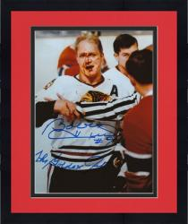 "Framed Bobby Hull Chicago Blackhawks Autographed 8"" x 10"" Blood Photograph with The Golden Jet Inscription"