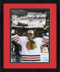 """Framed Chicago Blackhawks Jordan Hendry 2010 Stanley Cup Champions Autographed 8"""" x 10"""" Photo"""