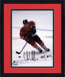 "Framed Chris Chelios Chicago Blackhawks Autographed 8"" x 10"" Skating Photograph with HOF 13 Inscription"