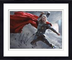 "Framed Chris Hemsworth Autographed 8"" x 10"" Thor: In Lightning Fighting Hand in Air Grey Photograph - Beckett COA"