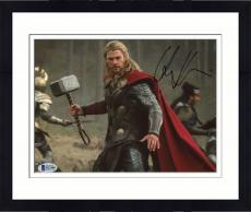 "Framed Chris Hemsworth Autographed 8"" x 10"" Thor: Standing Holding Hammer in Air Photograph - Beckett COA"