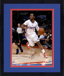 "Framed Chris Paul Los Angeles Clippers Autographed 16"" x 20"" Vertical Dribble White Uniform Photograph"