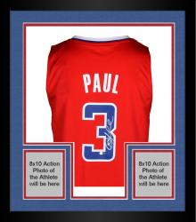 Framed Chris Paul Los Angeles Clippers Autographed Adidas Swingman Red Jersey