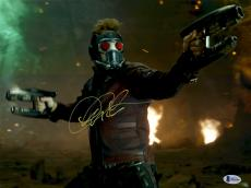 "Framed Chris Pratt Autographed 12"" x 18"" Shooting Guns In Both Hands Guardians Of The Galaxy Photograph - Beckett COA"