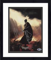 "Framed Christian Bale Autographed 8"" x 10"" The Dark Knight Batman Begins City on Fire Batman Symbol in Sky Photograph - Beckett COA"