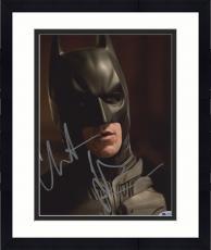 "Framed Christian Bale Autographed 8"" x 10"" The Dark Knight Batman Begins Face Close Up Black Background Photograph - Beckett COA"