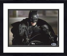 "Framed Christian Bale Autographed 8"" x 10"" The Dark Knight Batman Begins on Motorcycle Front View Photograph - Beckett COA"