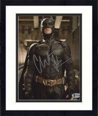 """Framed Christian Bale Autographed 8"""" x 10"""" The Dark Knight Batman Begins Standing Tall Photograph - Beckett COA"""
