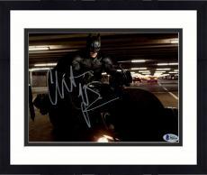 "Framed Christian Bale Autographed 8"" x 10"" The Dark Knight Batman on Motorcycle in Garage Horizontal Photograph - Beckett COA"