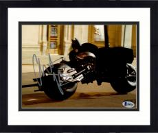 "Framed Christian Bale Autographed 8"" x 10"" The Dark Knight Batman on Motorcycle in Motion Horizontal Photograph - Beckett COA"
