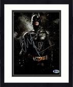"Framed Christian Bale Autographed 8"" x 10"" The Dark Knight Rises Batman Standing With Rain & Rocks Falling Photograph - Beckett COA"
