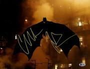 Framed Christian Bale Signed Horizontal Batman Buildings Background 11x14 Photo Beckett