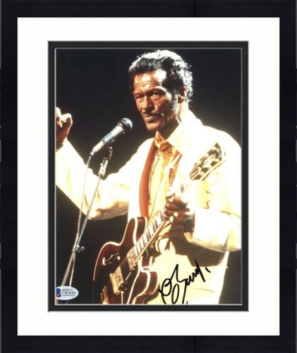 """Framed Chuck Berry Autographed 8"""" x 10"""" Fist Clinched Photograph - Beckett COA"""
