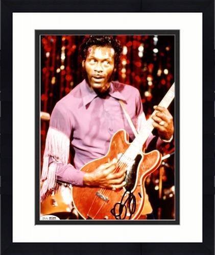 "Framed Chuck Berry Autographed 8"" x 10"" Playing Guitar Photograph - JSA COA"