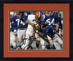 """Framed Cleveland Browns Jim Brown Autographed 8"""" x 10"""" vs. New York Giants Photograph"""