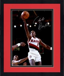 "Framed Clyde Drexler Portland Trail Blazers Autographed 16"" x 20"" White Uniform Photograph"