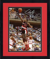 "Framed Clyde Drexler Portland Trail Blazers Autographed 8"" x 10"" Black Uniform Photograph"