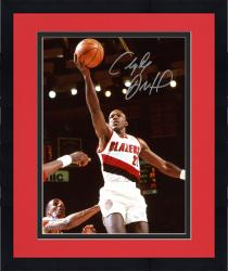 "Framed Clyde Drexler Portland Trail Blazers Autographed 8"" x 10"" White Uniform Photograph"