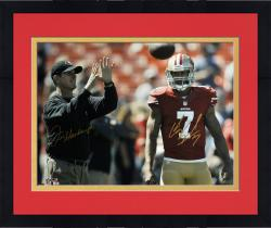 "Framed Colin Kaepernick & Jim Harbaugh San Francisco 49ers Autographed 16"" x 20"" Horizontal Throw Photograph"