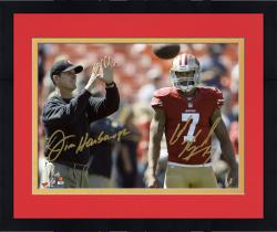 "Framed Colin Kaepernick & Jim Harbaugh San Francisco 49ers Autographed 8"" x 10"" Horizontal Throw Photograph-Limited Edition of 7"