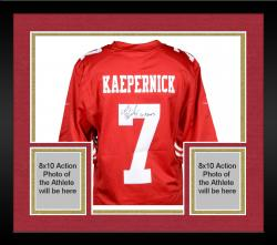 Framed Colin Kaepernick San Francisco 49ers Autographed Red Nike Jersey with Go Niners Inscription