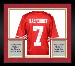 Framed Colin Kaepernick San Francisco 49ers Autographed Red Nike Jersey with Kaepernicking Inscription