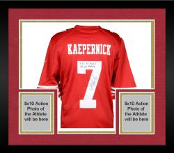 Framed Colin Kaepernick San Francisco 49ers Autographed Red Nike Jersey with NFL QB Record 181 Yds Rushing Inscription