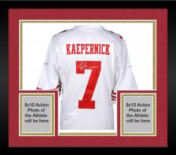 Framed Colin Kaepernick San Francisco 49ers Autographed White Nike Jersey with Go Niners Inscription