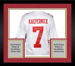 Framed Colin Kaepernick San Francisco 49ers Autographed White Nike Jersey with Kaepernicking Inscription