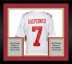 Framed Colin Kaepernick San Francisco 49ers Autographed White Nike Jersey with NFL QB Record 181 Yds Rushing Inscription
