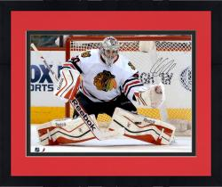 "Framed Corey Crawford Chicago Blackhawks Autographed 16"" x 20"" White Uniform Save Photograph"