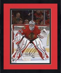 Framed Corey Crawford Chicago Blackhawks Autographed 8'' x 10'' Red Uniform Stance Photograph