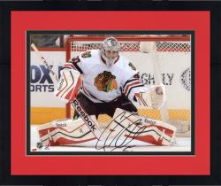 "Framed Corey Crawford Chicago Blackhawks Autographed 8"" x 10"" White Uniform Save Photograph"