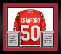 Framed Corey Crawford Chicago Blackhawks Autographed Premier Red Jersey