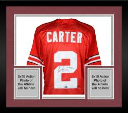 Framed Cris Carter Ohio State Buckeyes Autographed Nike Red Jersey