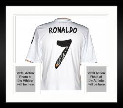 Framed Cristiano Ronaldo Real Madrid C.F. Autographed White Back Jersey