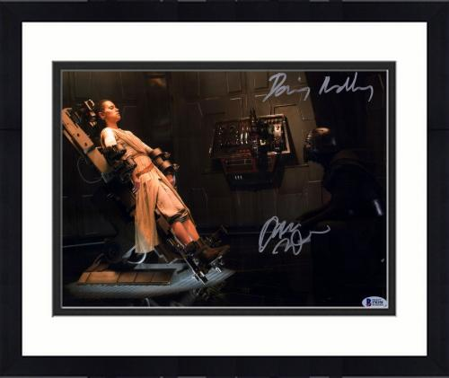 "Framed Daisy Ridley & Adam Driver Star Wars The Force Awakens Autographed 11"" x 14"" Rey & Kylo Ren Photograph - BAS"