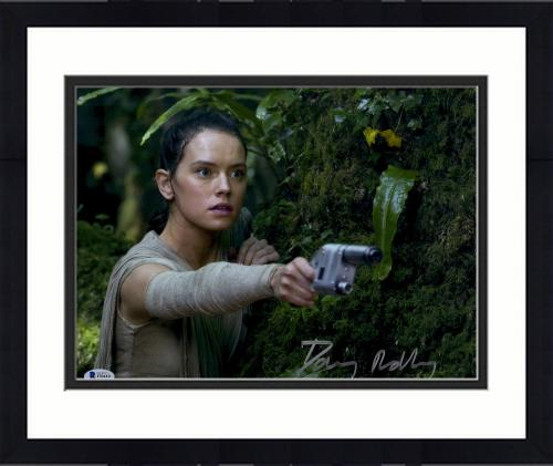 "Framed Daisy Ridley Autographed 11"" x 14"" Star Wars The Force Awakens Holding Silver Blaster Gun Photograph - Beckett"